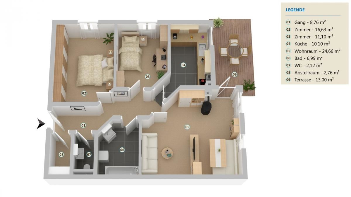 3D-Grundrissplan Wohnung Gschnitz