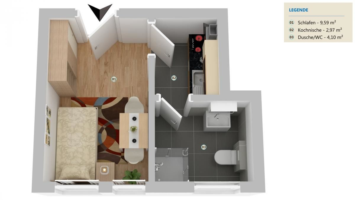 3D-Grundrissplan Top 7