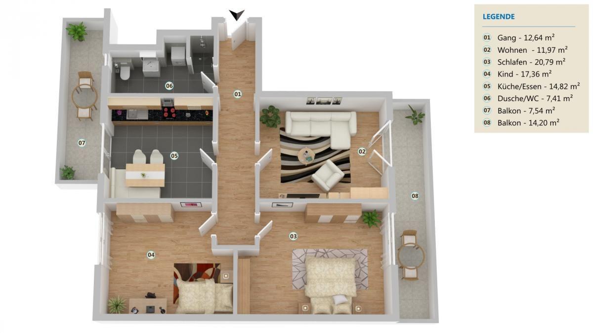 3D-Grundrissplan Top 6